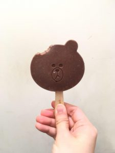 line cafe brown icepop bite